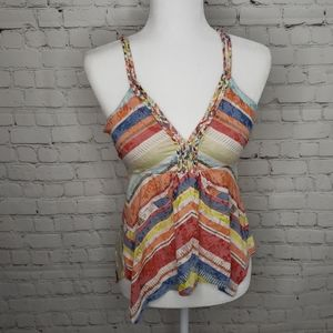 AMERICAN RAG RAINBOW STRIPED BRAIDED TANK TOP